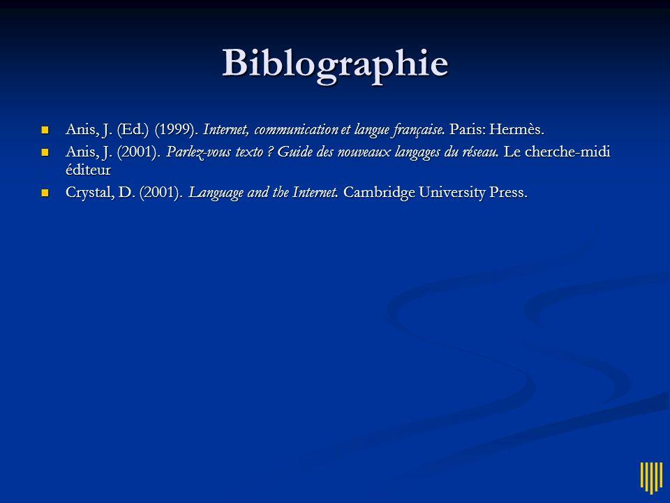 Biblographie Anis, J. (Ed.) (1999). Internet, communication et langue française. Paris: Hermès.
