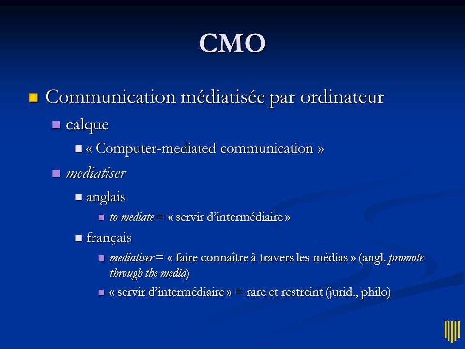 CMO Communication médiatisée par ordinateur calque mediatiser