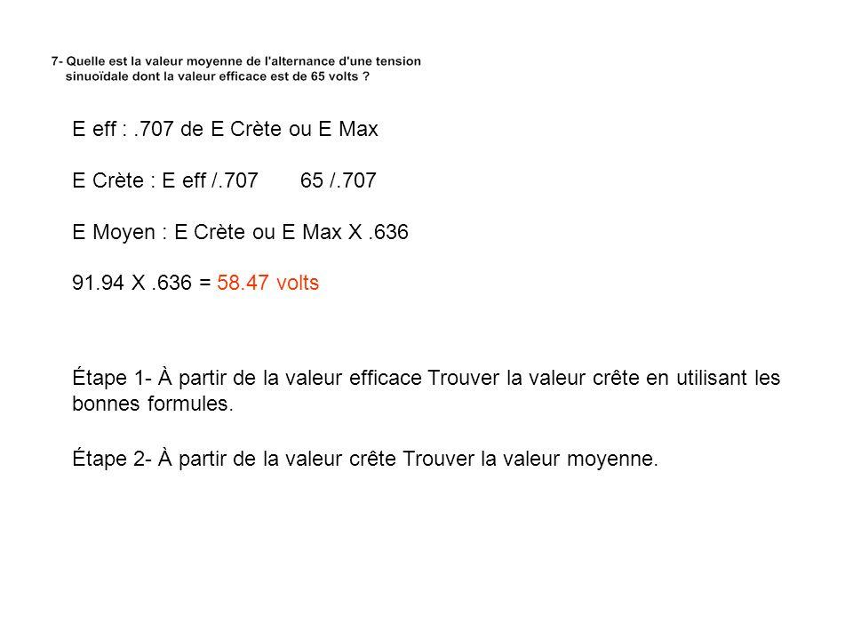 E eff : .707 de E Crète ou E Max E Crète : E eff /.707 65 /.707. E Moyen : E Crète ou E Max X .636.