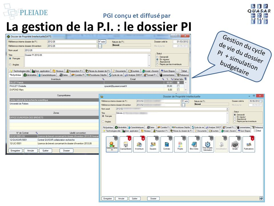 La gestion de la P.I. : le dossier PI