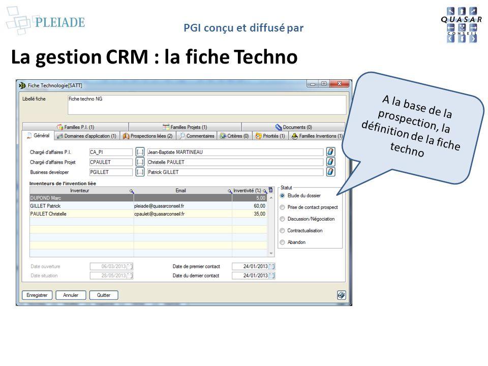 La gestion CRM : la fiche Techno