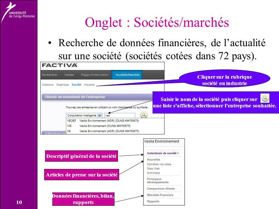 Onglet : Sociétés/marchés