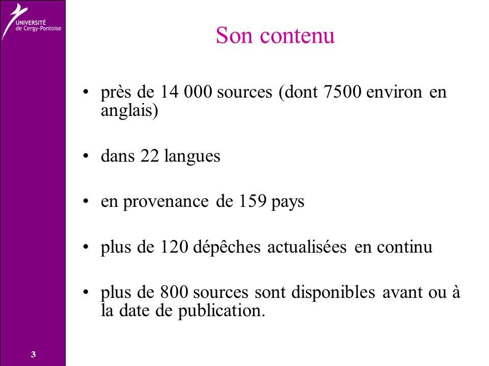 Son contenu près de 14 000 sources (dont 7500 environ en anglais)