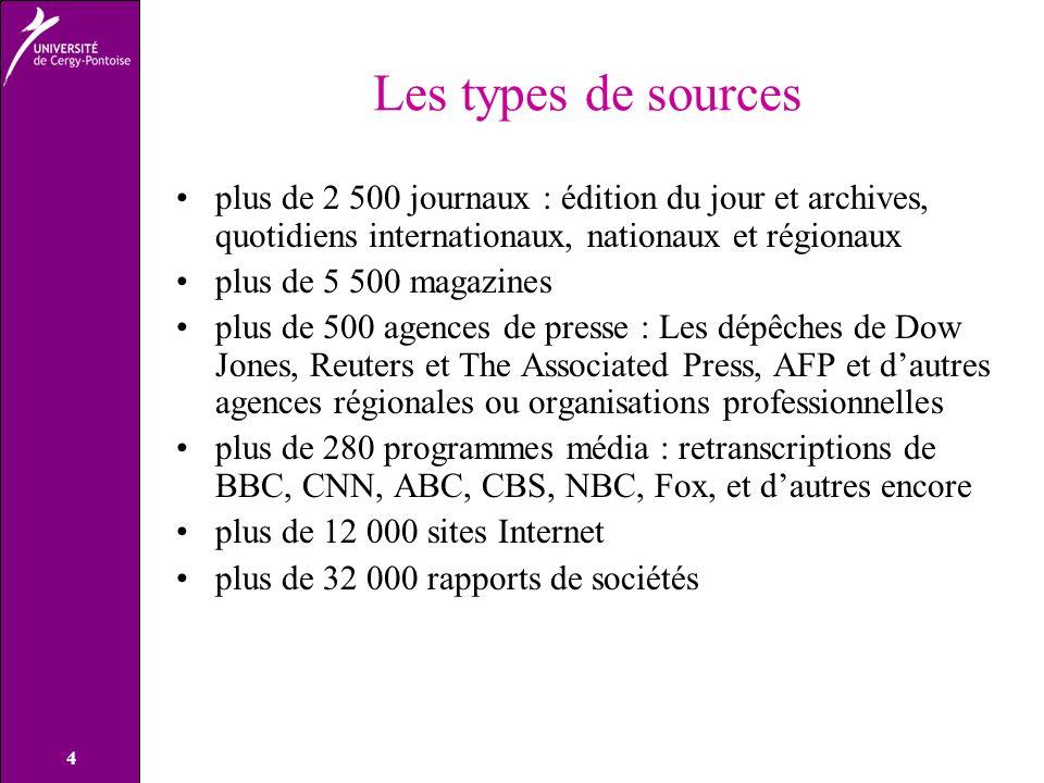 Les types de sources plus de 2 500 journaux : édition du jour et archives, quotidiens internationaux, nationaux et régionaux.