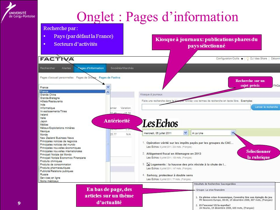 Onglet : Pages d'information