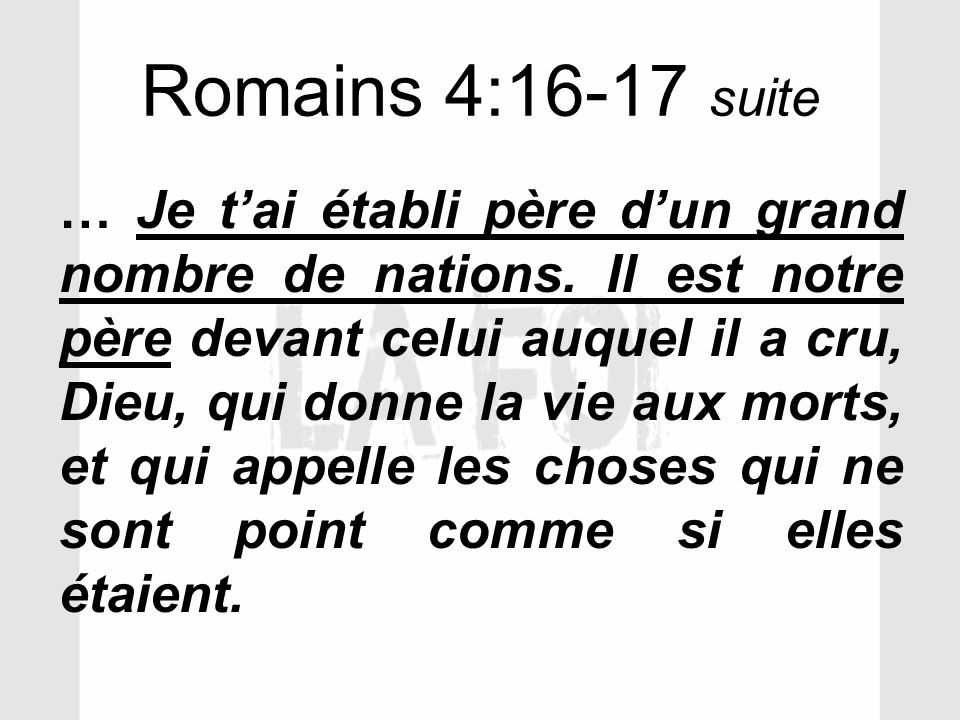Romains 4:16-17 suite