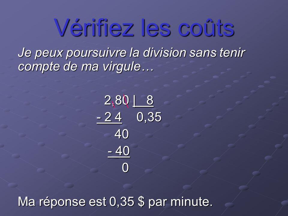 Vérifiez les coûts Je peux poursuivre la division sans tenir compte de ma virgule… 2,80 | 8. - 2 4 0,35.