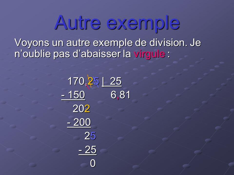 Autre exemple Voyons un autre exemple de division. Je n'oublie pas d'abaisser la virgule : 170,25 | 25.