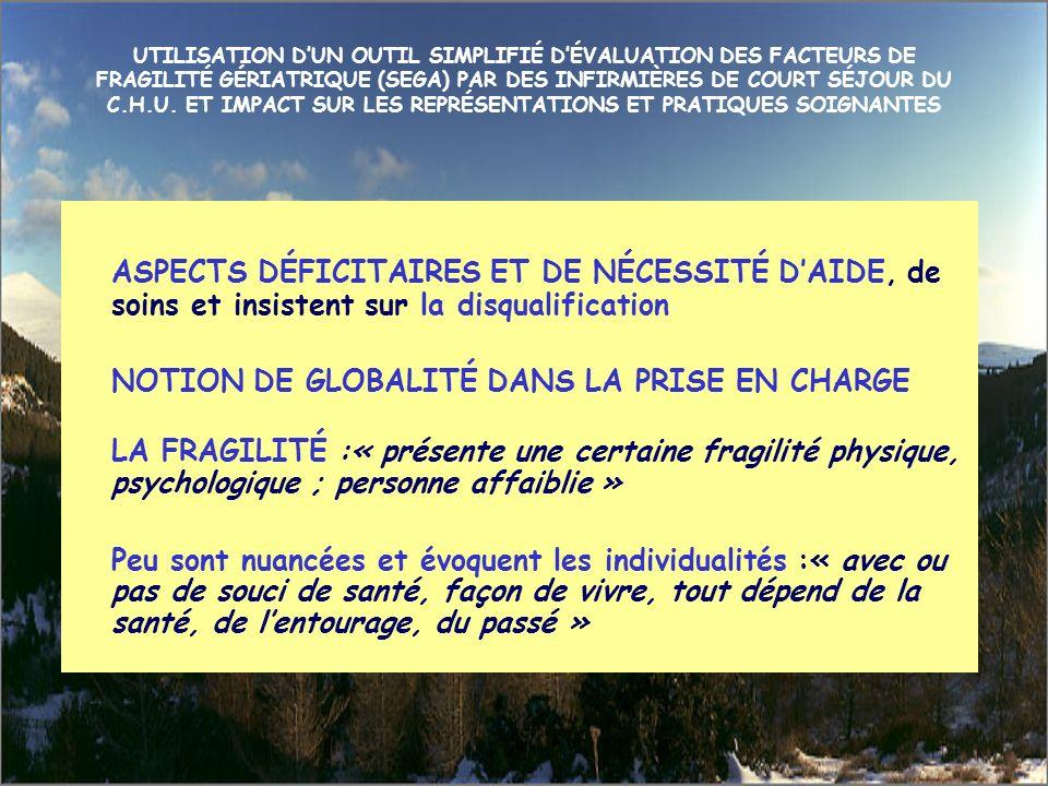 UTILISATION D'UN OUTIL SIMPLIFIÉ D'ÉVALUATION DES FACTEURS DE FRAGILITÉ GÉRIATRIQUE (SEGA) PAR DES INFIRMIÈRES DE COURT SÉJOUR DU C.H.U. ET IMPACT SUR LES REPRÉSENTATIONS ET PRATIQUES SOIGNANTES