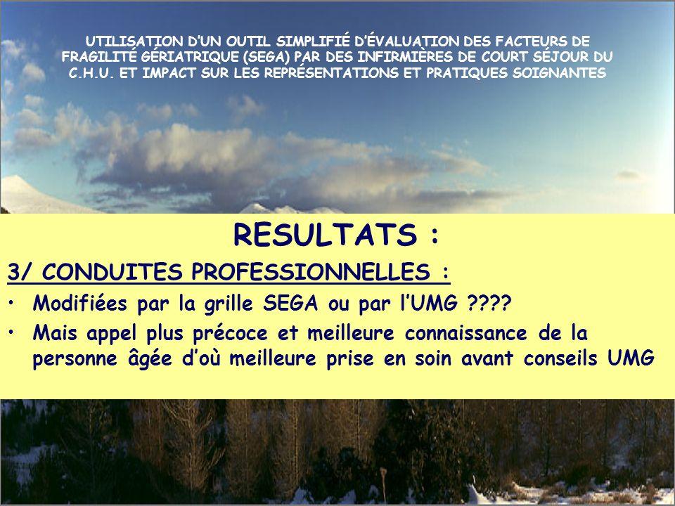 RESULTATS : 3/ CONDUITES PROFESSIONNELLES :