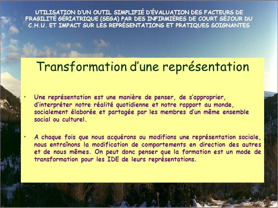 Transformation d'une représentation