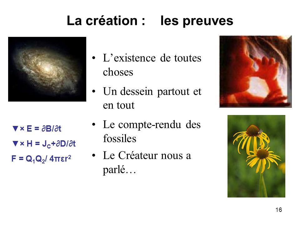 La création : les preuves