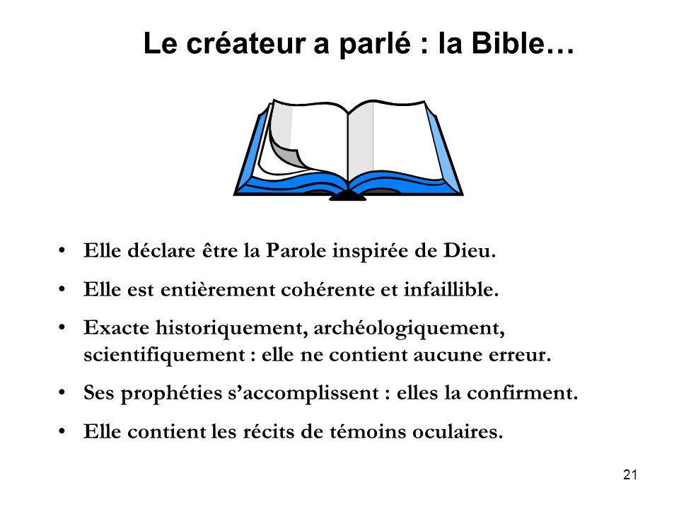 Le créateur a parlé : la Bible…