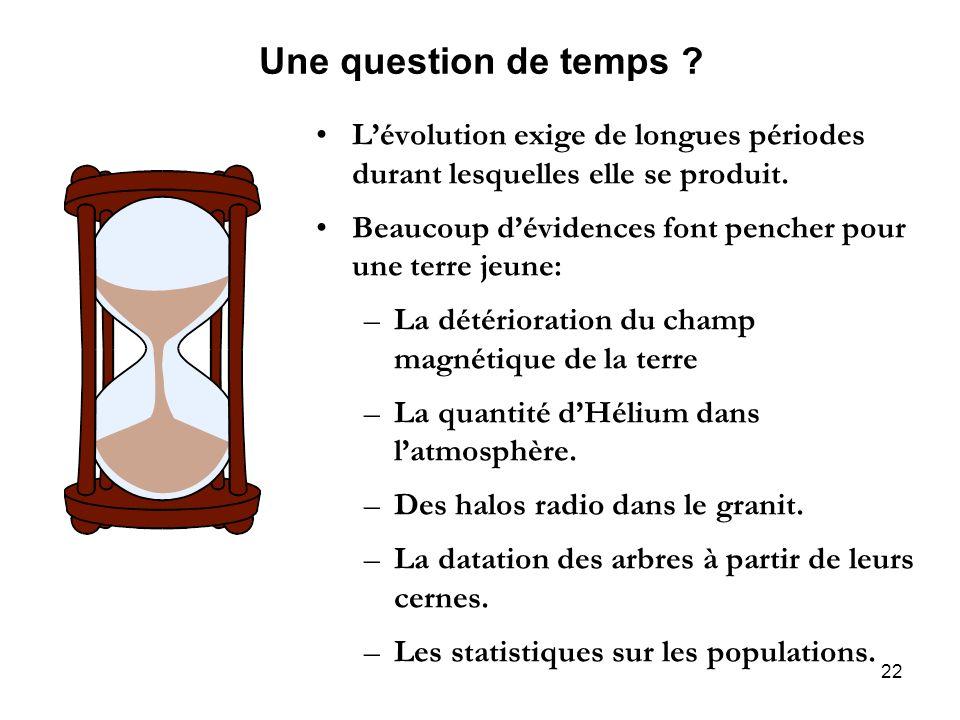 Une question de temps L'évolution exige de longues périodes durant lesquelles elle se produit.