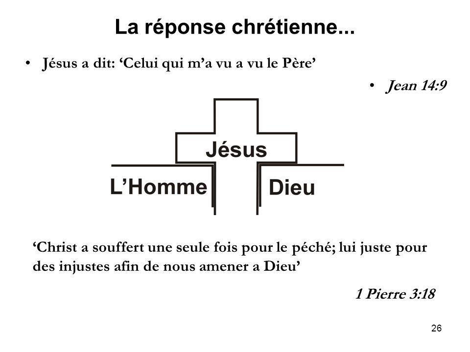 La réponse chrétienne... Jésus a dit: 'Celui qui m'a vu a vu le Père'