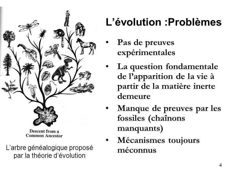 L'évolution :Problèmes