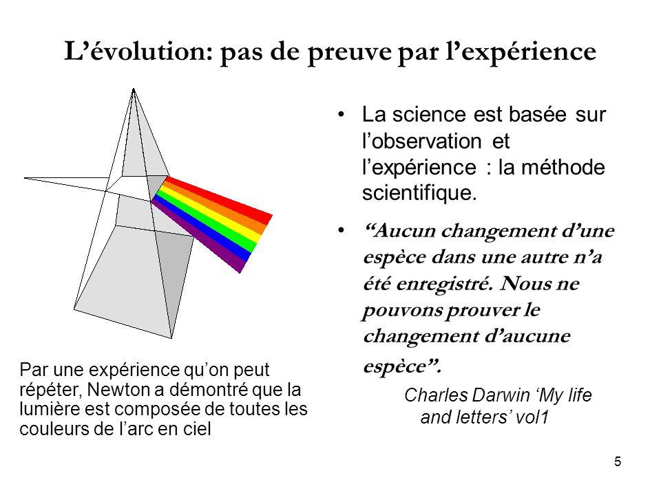 L'évolution: pas de preuve par l'expérience