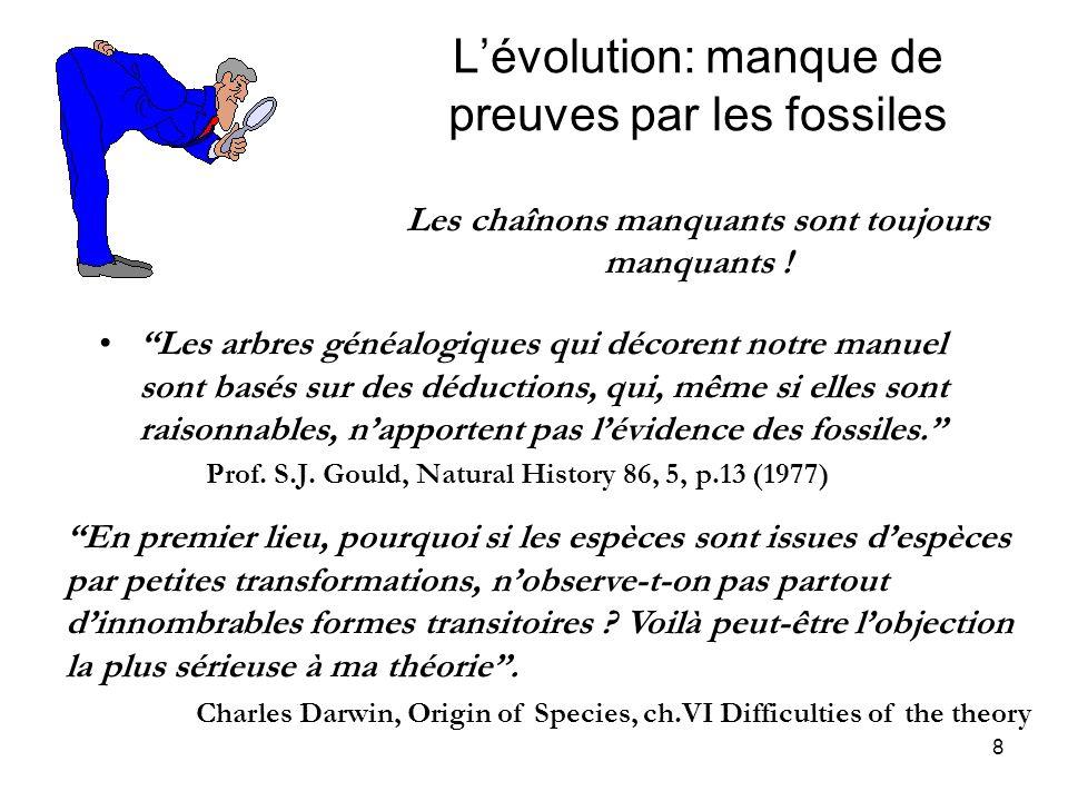 L'évolution: manque de preuves par les fossiles Les chaînons manquants sont toujours manquants !