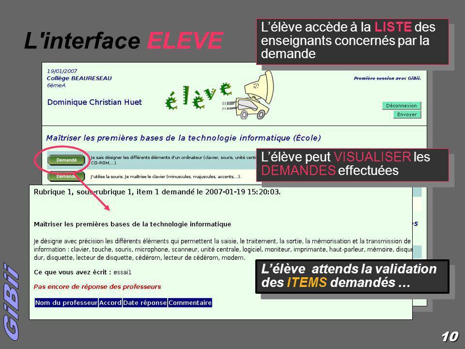 L interface ELEVE L'élève accède à la LISTE des enseignants concernés par la demande. L'élève peut VISUALISER les DEMANDES effectuées.