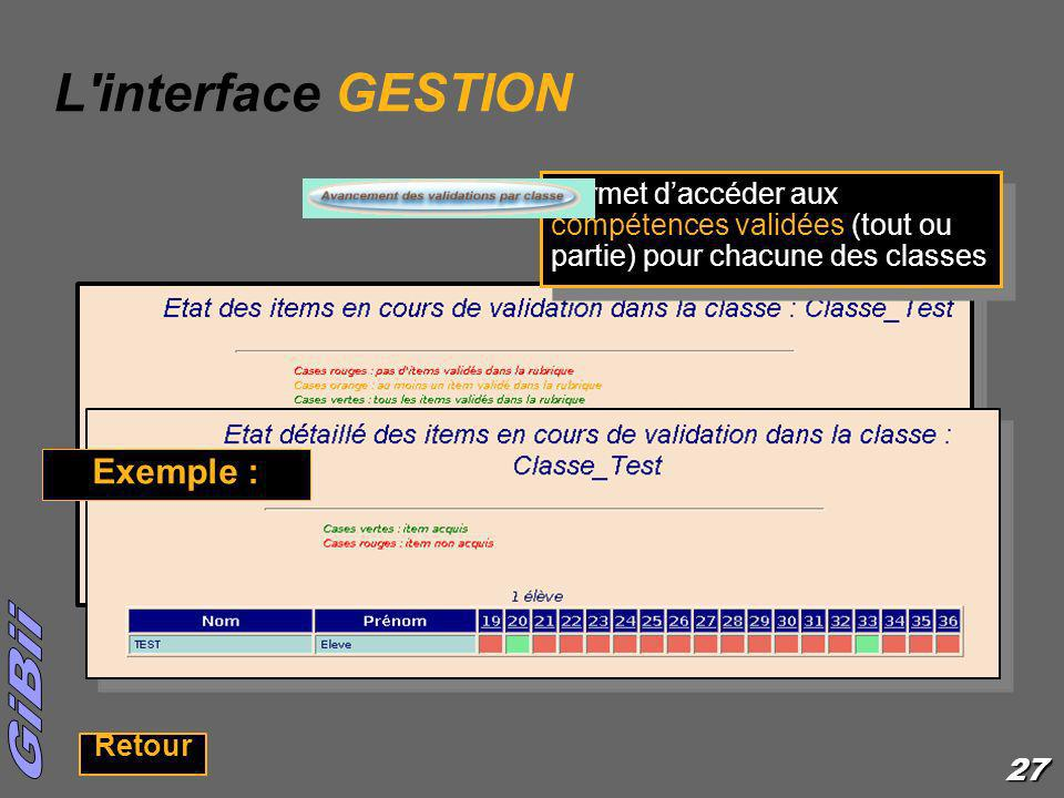 L interface GESTION Exemple :
