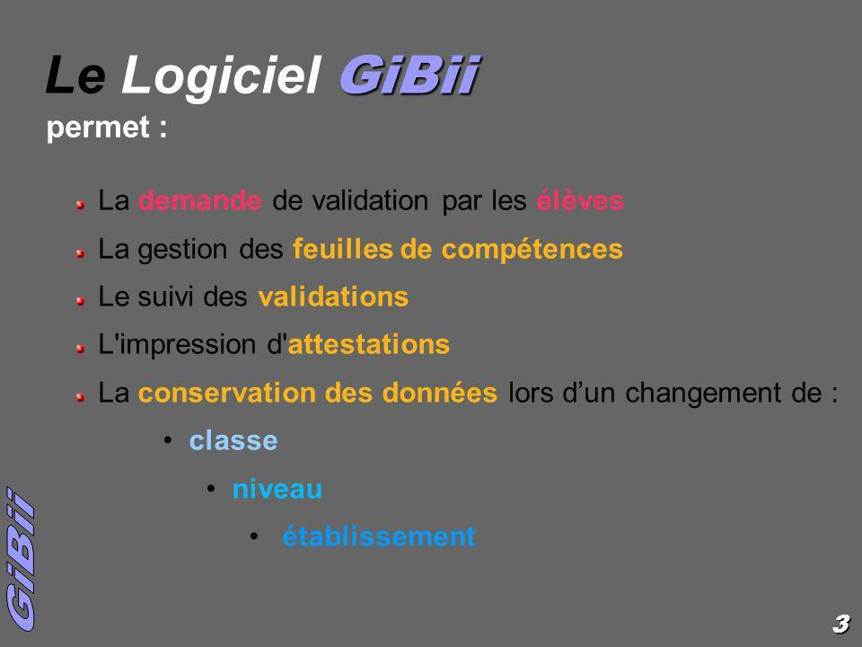Le Logiciel GiBii permet : La demande de validation par les élèves