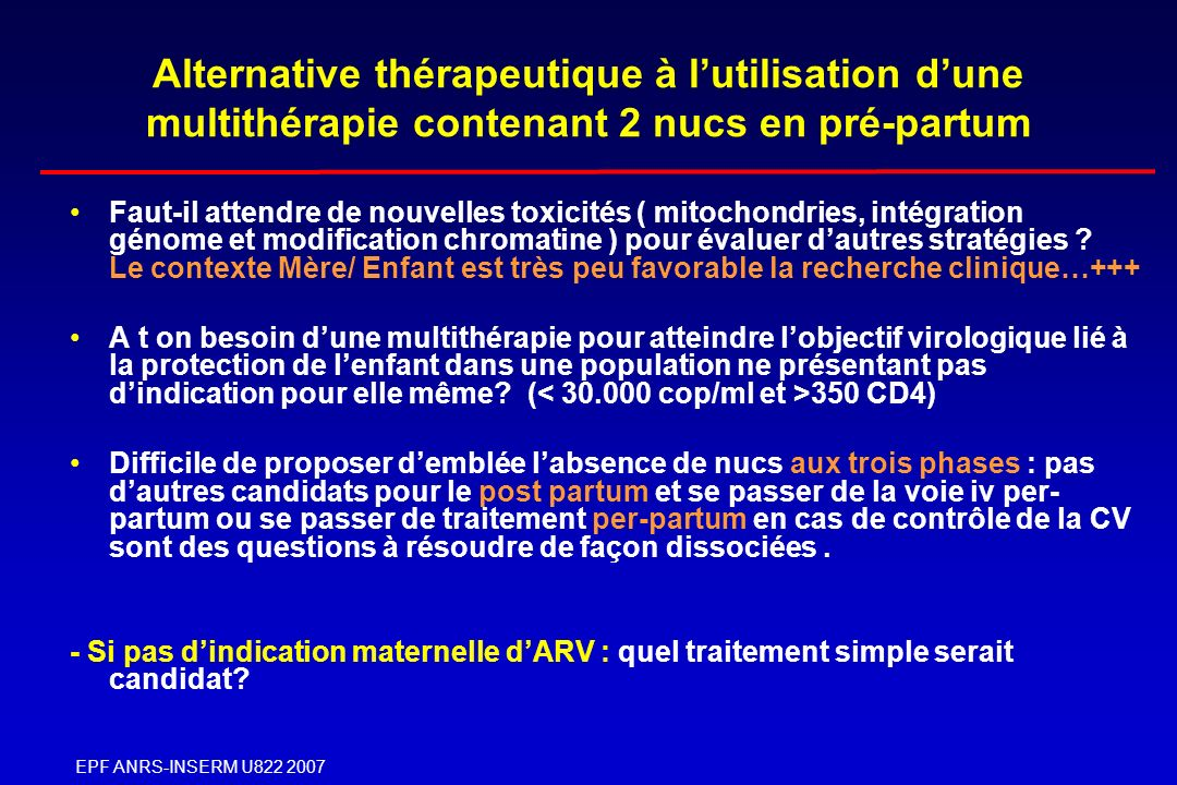 Alternative thérapeutique à l'utilisation d'une multithérapie contenant 2 nucs en pré-partum