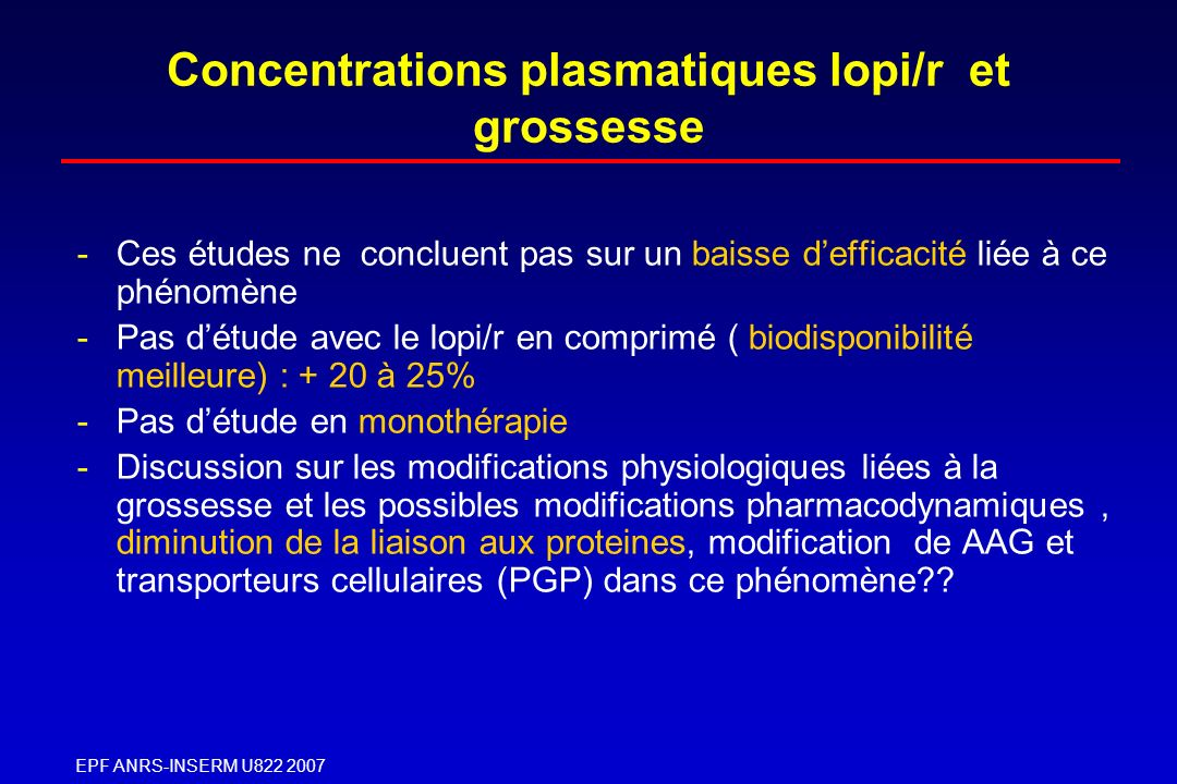 Concentrations plasmatiques lopi/r et grossesse