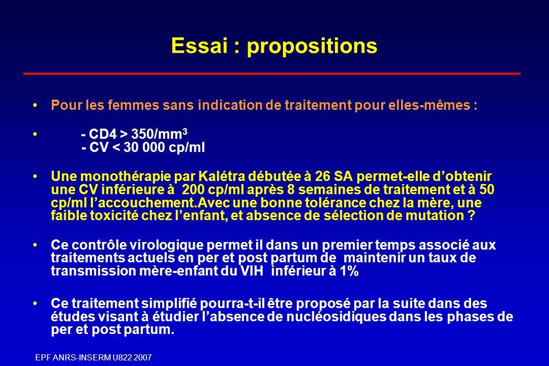 Essai : propositions Pour les femmes sans indication de traitement pour elles-mêmes : - CD4 > 350/mm3 - CV < 30 000 cp/ml.