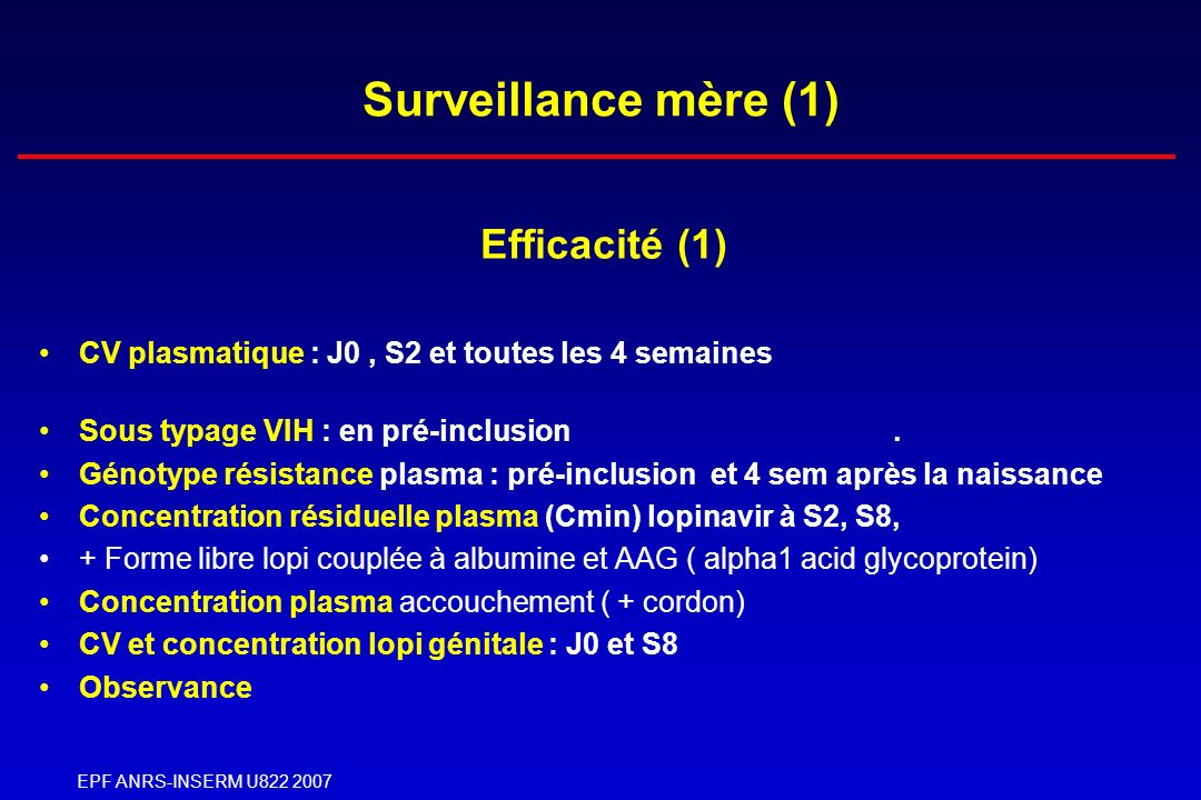 Surveillance mère (1) Efficacité (1)