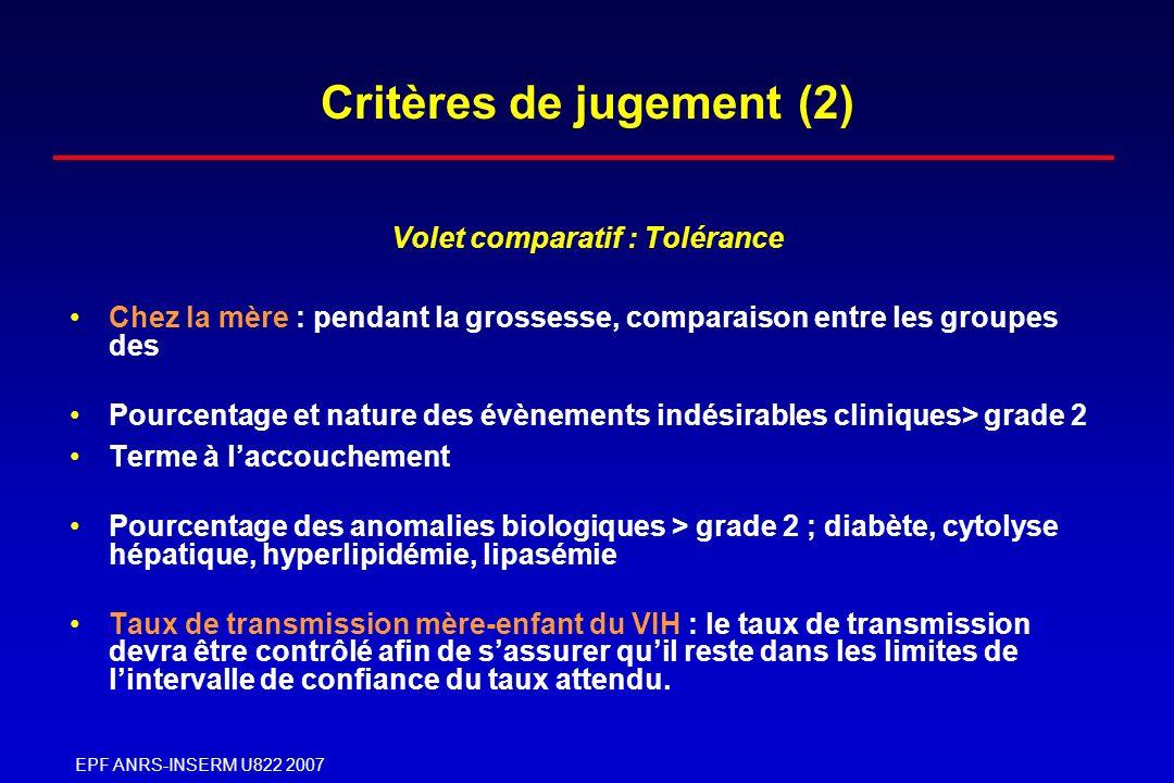 Critères de jugement (2)