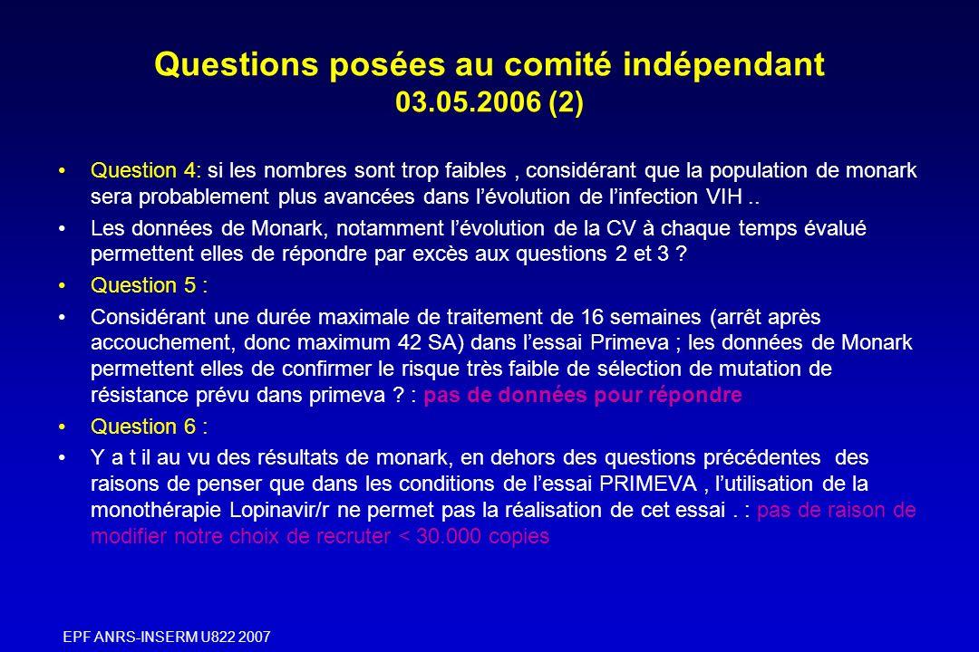 Questions posées au comité indépendant 03.05.2006 (2)