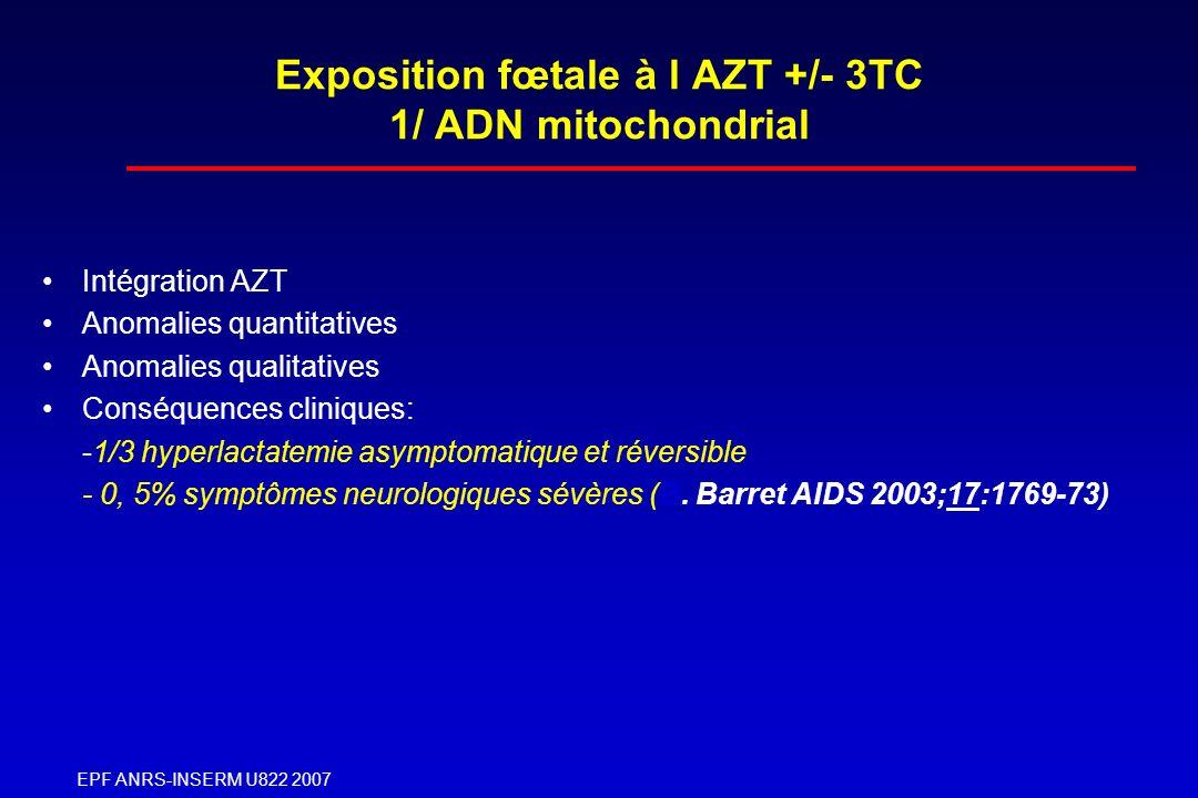 Exposition fœtale à l AZT +/- 3TC 1/ ADN mitochondrial