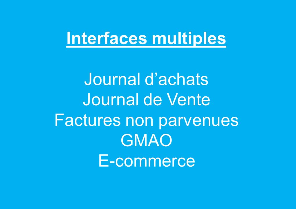 Interfaces multiples Journal d'achats