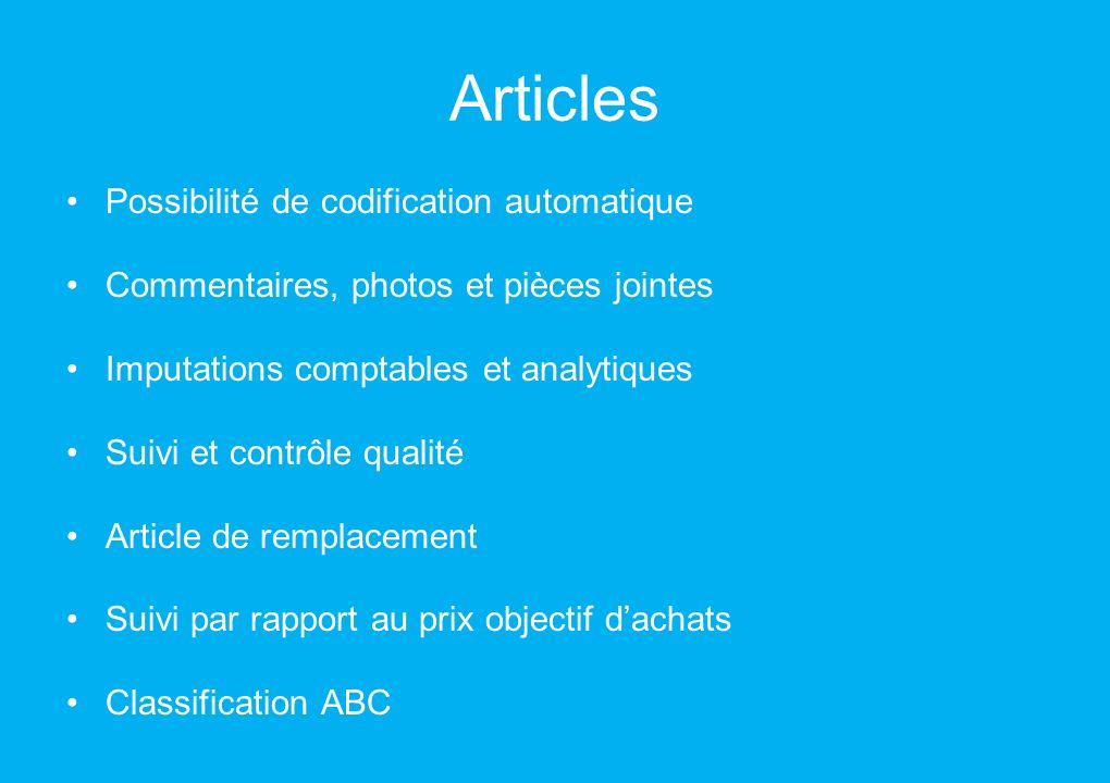 Articles Possibilité de codification automatique