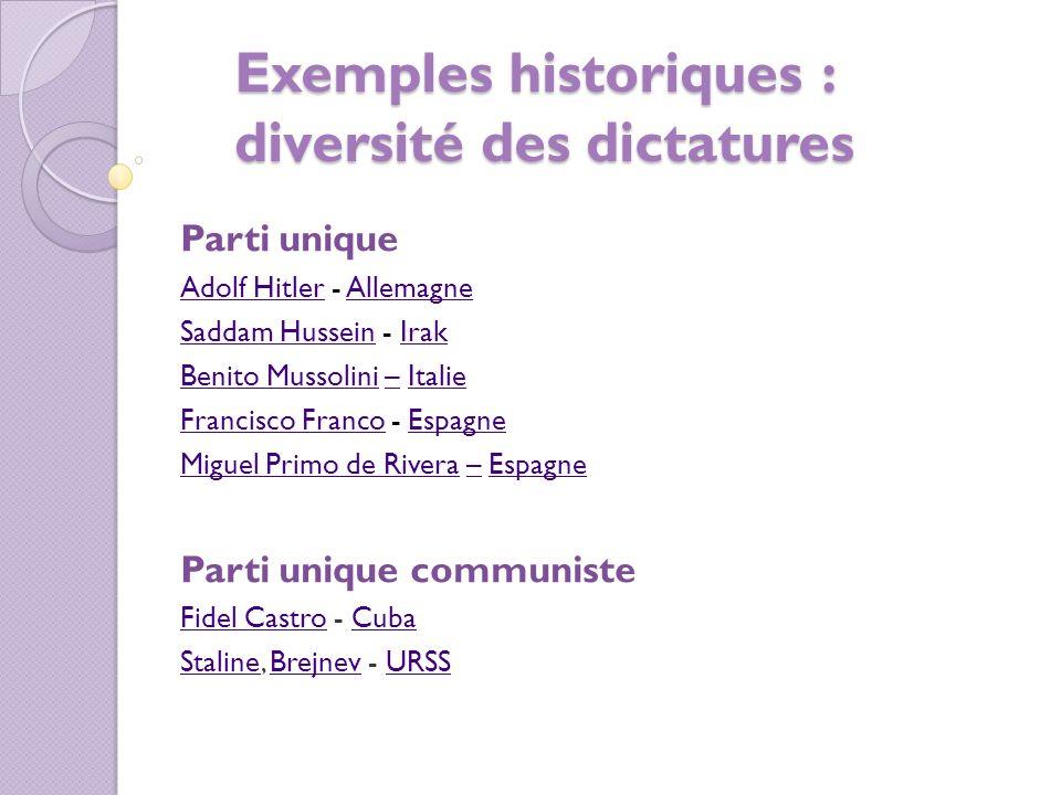 Exemples historiques : diversité des dictatures