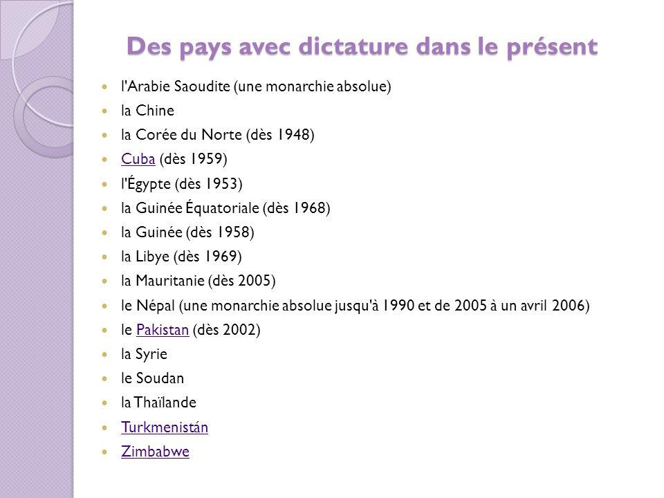 Des pays avec dictature dans le présent