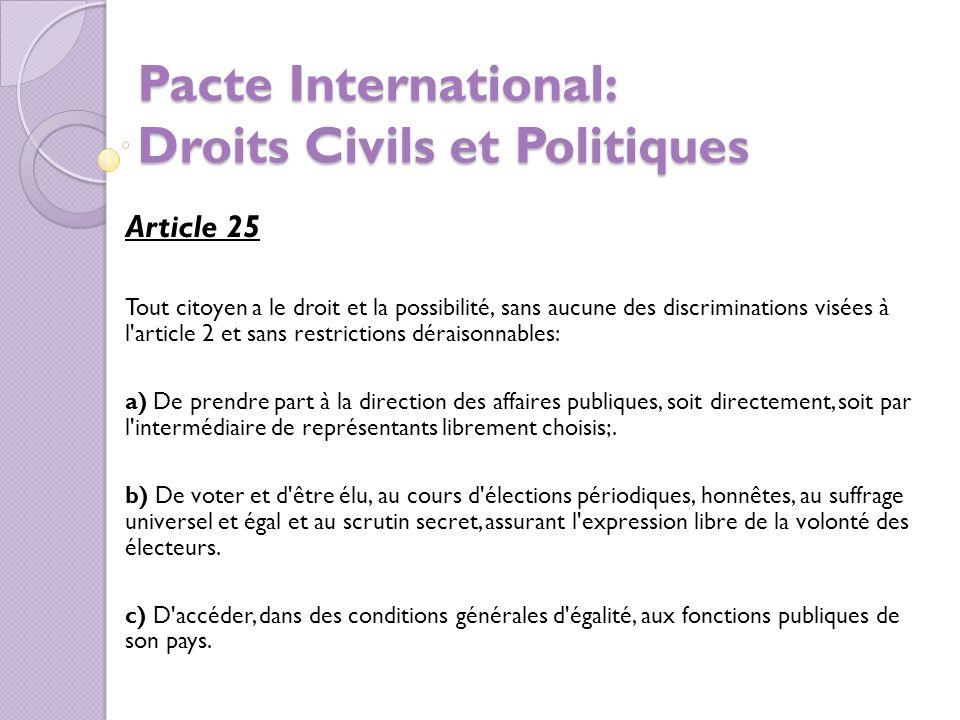 Pacte International: Droits Civils et Politiques