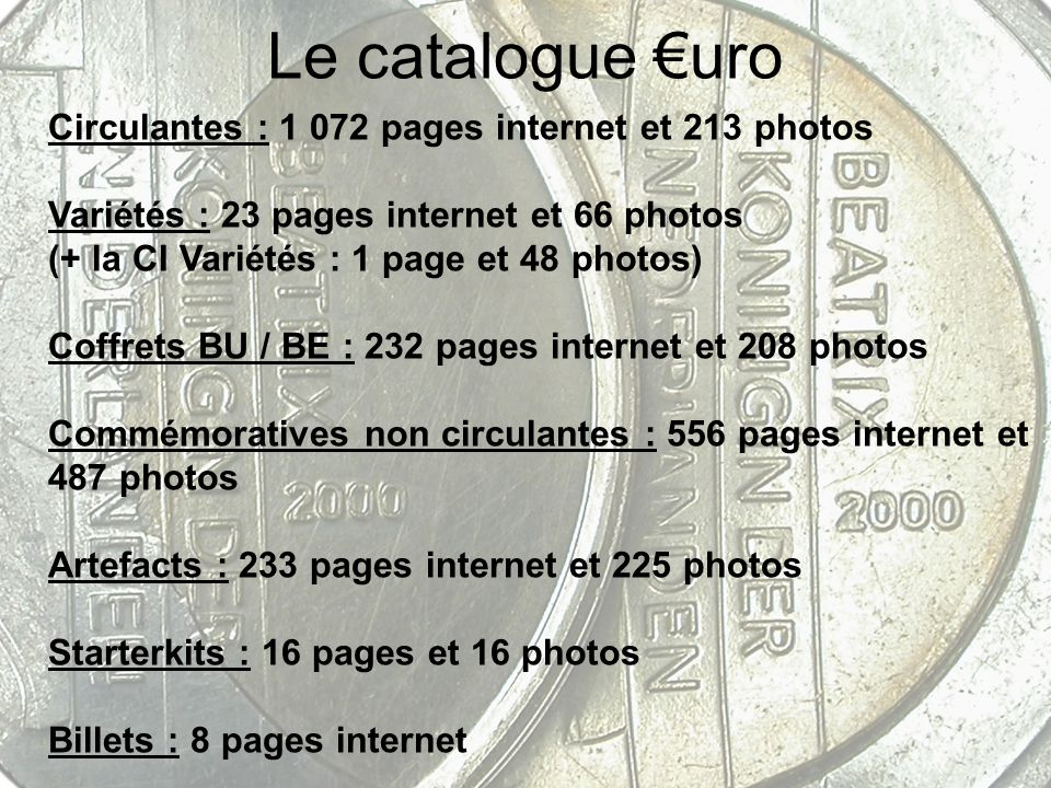Le catalogue €uro Circulantes : 1 072 pages internet et 213 photos