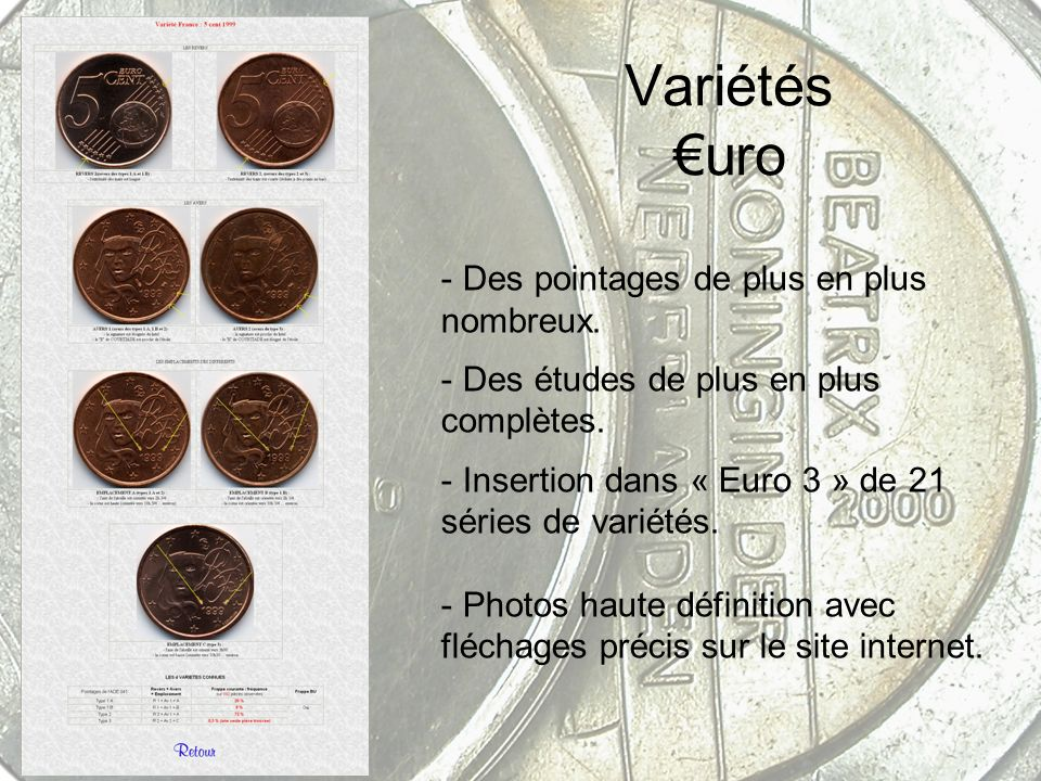 Variétés €uro Des pointages de plus en plus nombreux.