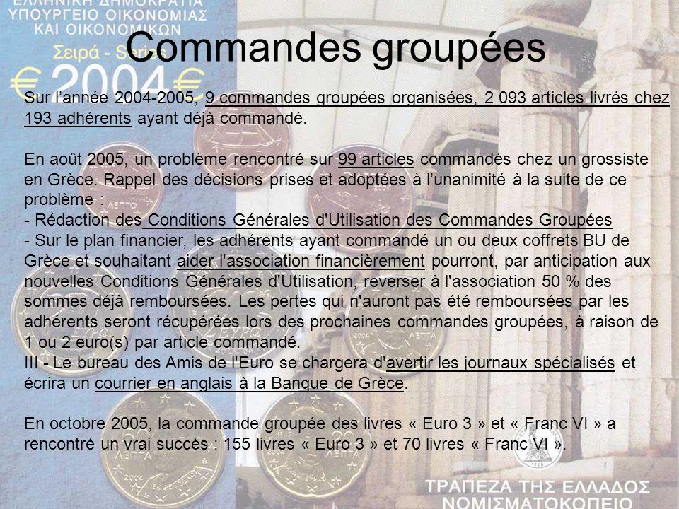 Commandes groupées Sur l'année 2004-2005, 9 commandes groupées organisées, 2 093 articles livrés chez 193 adhérents ayant déjà commandé.