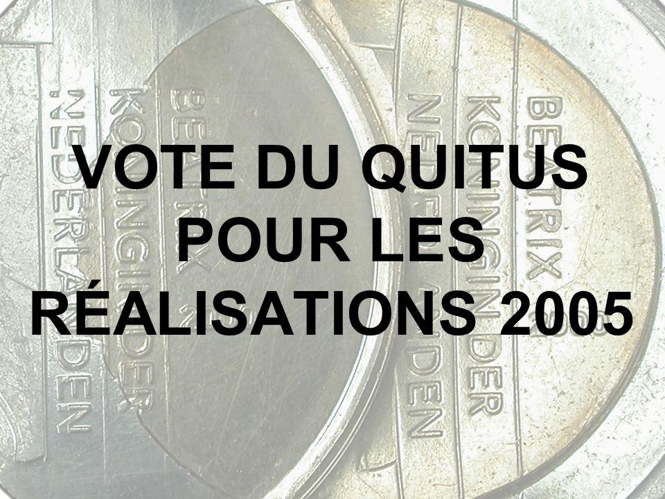 VOTE DU QUITUS POUR LES RÉALISATIONS 2005