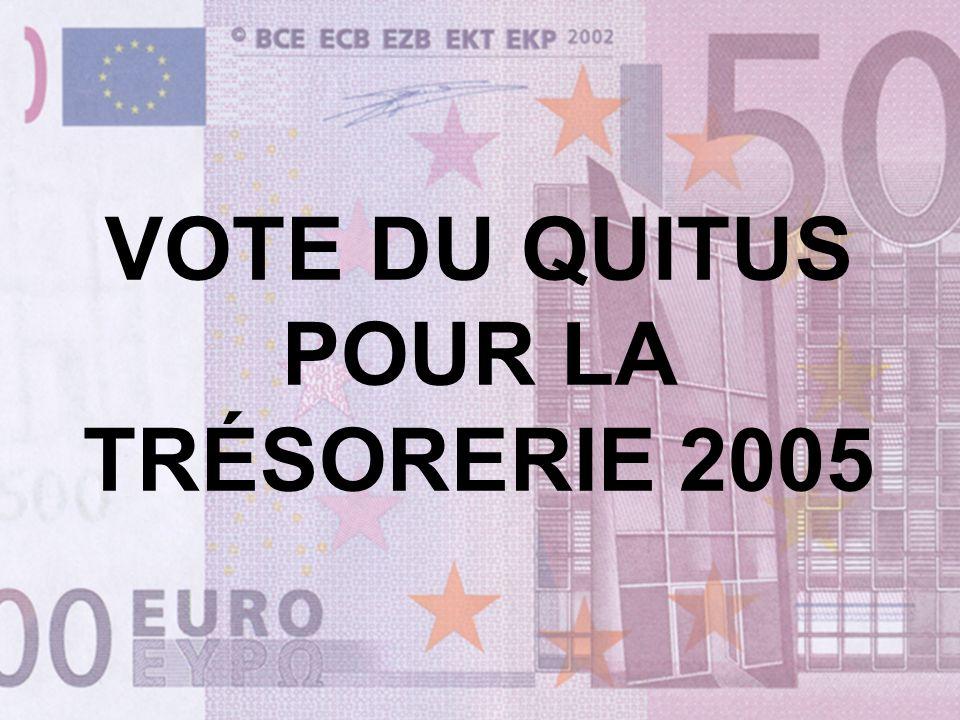 VOTE DU QUITUS POUR LA TRÉSORERIE 2005
