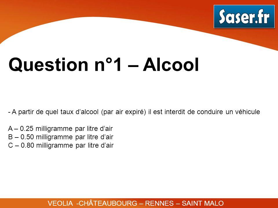 Question n°1 – Alcool A partir de quel taux d'alcool (par air expiré) il est interdit de conduire un véhicule.