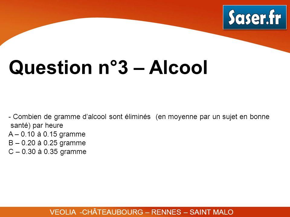 Question n°3 – AlcoolCombien de gramme d'alcool sont éliminés (en moyenne par un sujet en bonne. santé) par heure.
