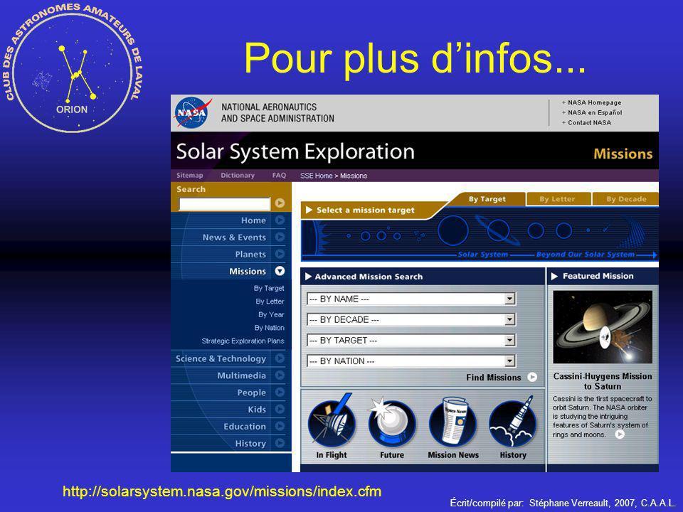 Pour plus d'infos... http://solarsystem.nasa.gov/missions/index.cfm