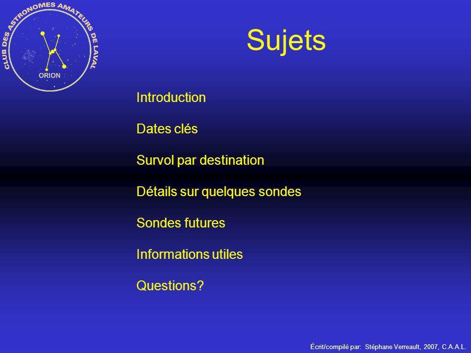 Sujets Introduction Dates clés Survol par destination Détails sur quelques sondes Sondes futures Informations utiles Questions