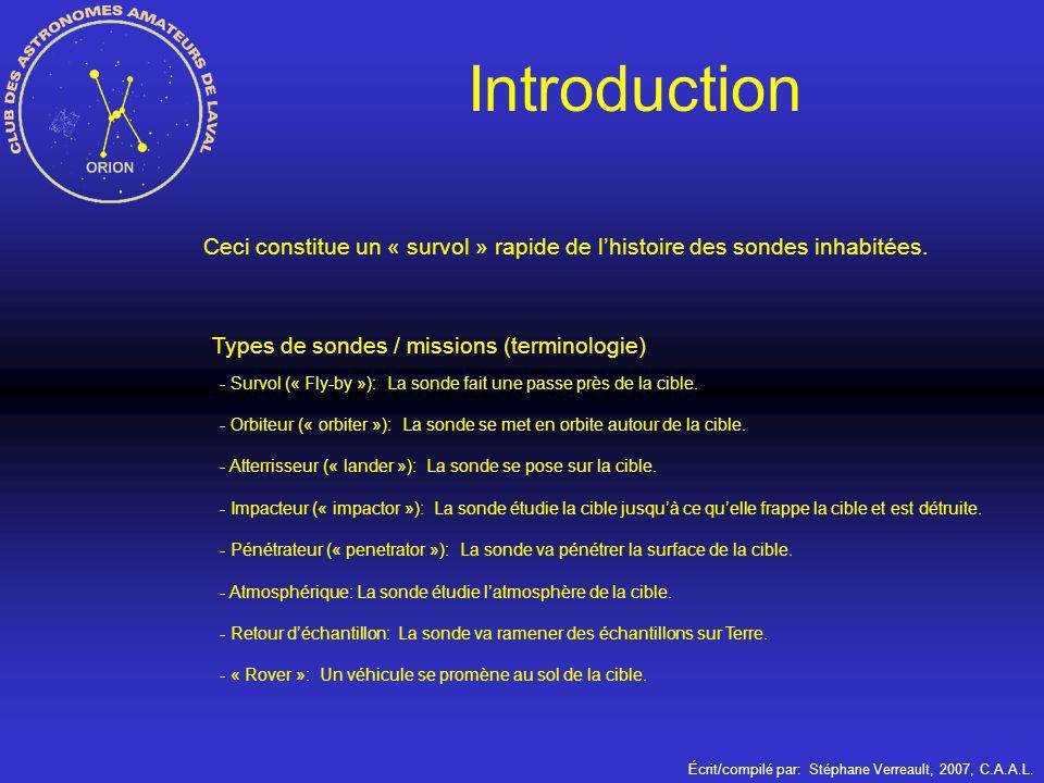Introduction Ceci constitue un « survol » rapide de l'histoire des sondes inhabitées. Types de sondes / missions (terminologie)