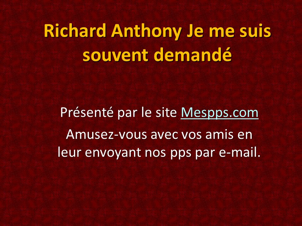 Richard Anthony Je me suis souvent demandé