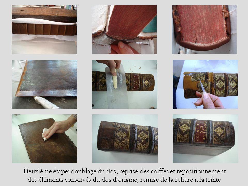 Deuxième étape: doublage du dos, reprise des coiffes et repositionnement des éléments conservés du dos d'origine, remise de la reliure à la teinte