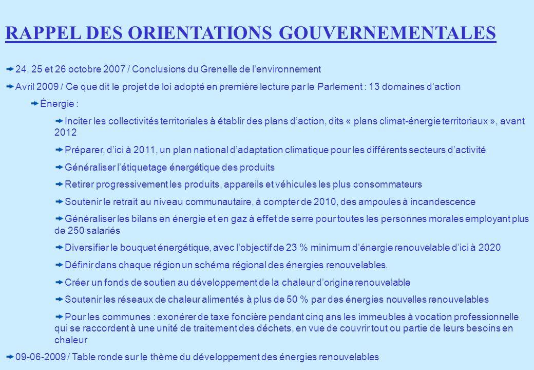 RAPPEL DES ORIENTATIONS GOUVERNEMENTALES